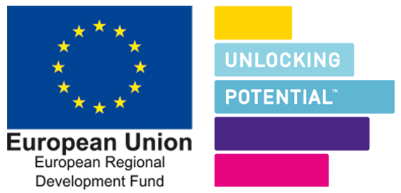 Unlocking Potential and ERDF logo lock-up