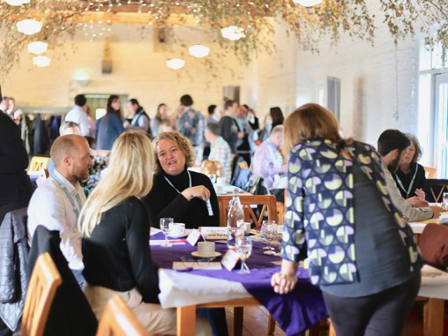 InFocus business espresso event at Trelissick Gardens, featuring Tor Riliey as speaker from The Cornish Food Box Company