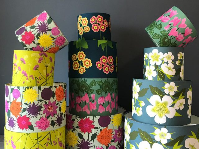 Stacked floral lampshades