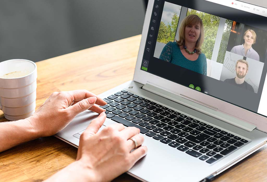 Growth Planning person using laptop during virtual meeting