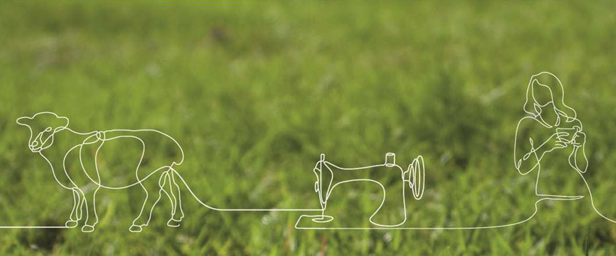 Illustration of cow, sewing machine and woman over grass background